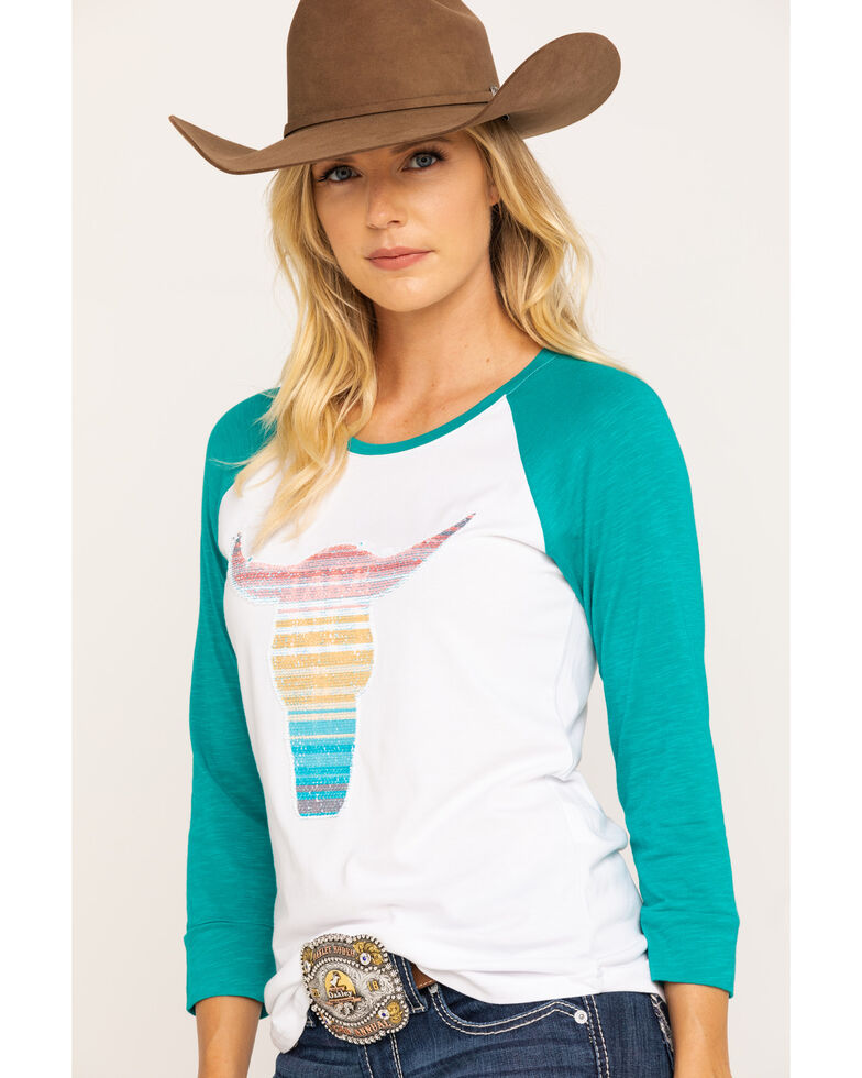 Ariat Women's Reversed Raglan Tee, White, hi-res