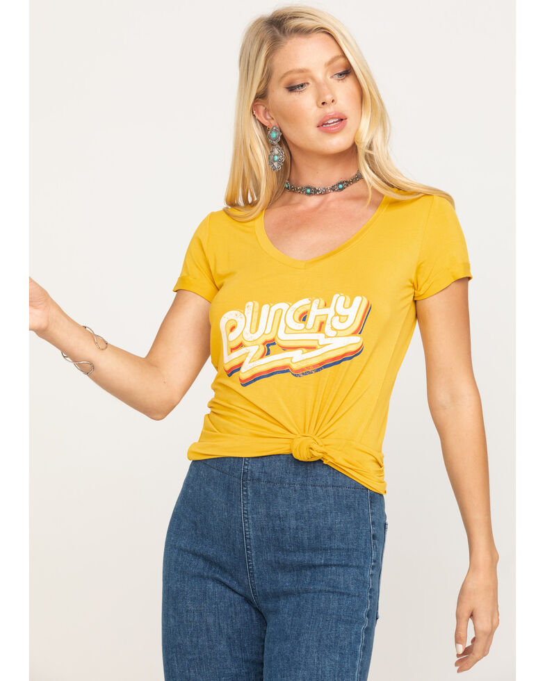 Rock & Roll Cowgirl Women's Mustard Punchy V-Neck Tee, Dark Yellow, hi-res