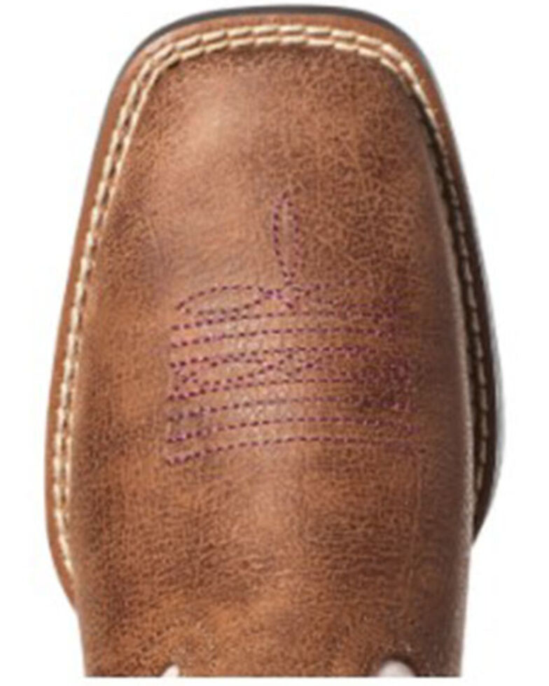 Ariat Girls' Double Kicker Western Boots - Round Toe, Tan, hi-res