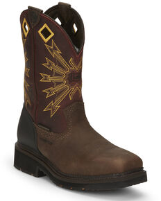 Justin Men's Flanker Western Work Boots - Composite Toe, Brown, hi-res