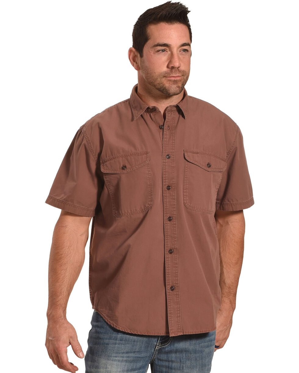 Filson Men's Red Clay Short Sleeve Field Shirt , Burgundy, hi-res
