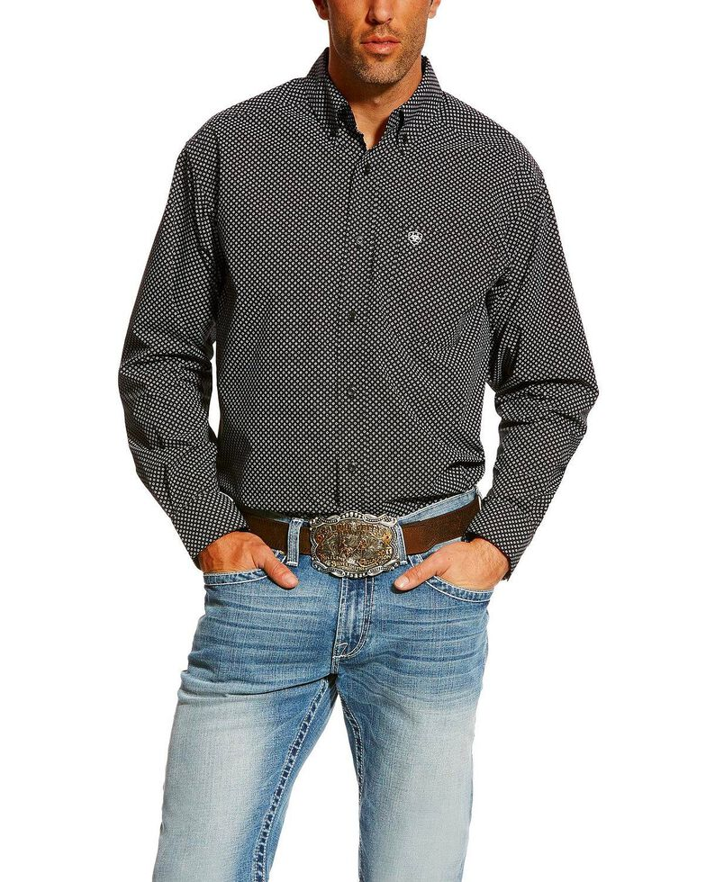 Ariat Men's Carolla Print Long Sleeve Western Shirt - Big , Navy, hi-res