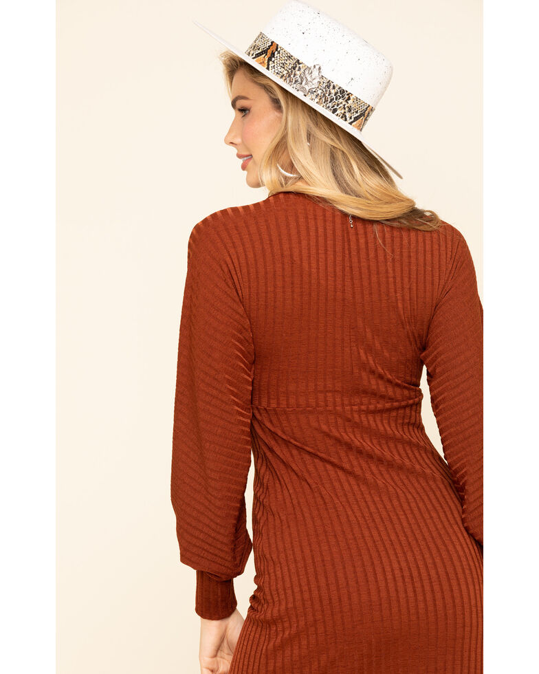 Band of Gypsies Women's Rust Knit Dress , Rust Copper, hi-res