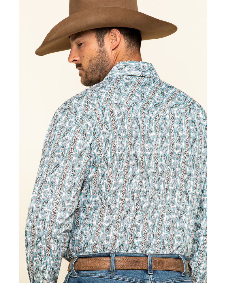 Rough Stock By Panhandle Ferncroft Paisley Print Long Sleeve Western Shirt, Turquoise, hi-res