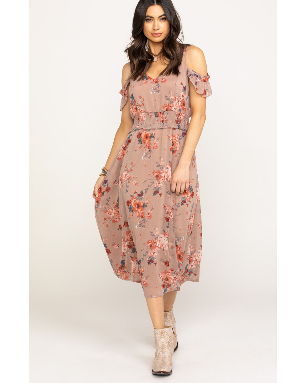 Mystree Women's Dusty Rose Floral Chiffon Cold Shoulder Midi Dress, Blush, hi-res