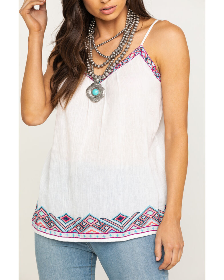 Five Star Women's White Embroidered Cami, White, hi-res