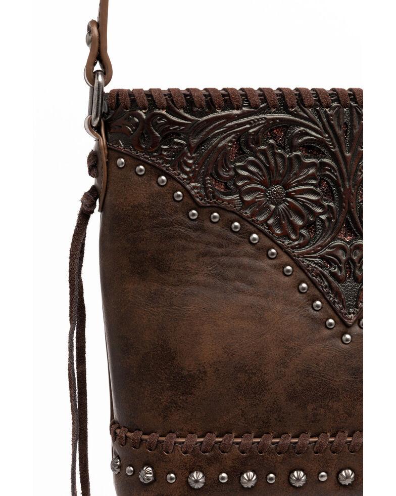 Shyanne Women's Brown Glitter Inlay Crossbody Bag, Brown, hi-res