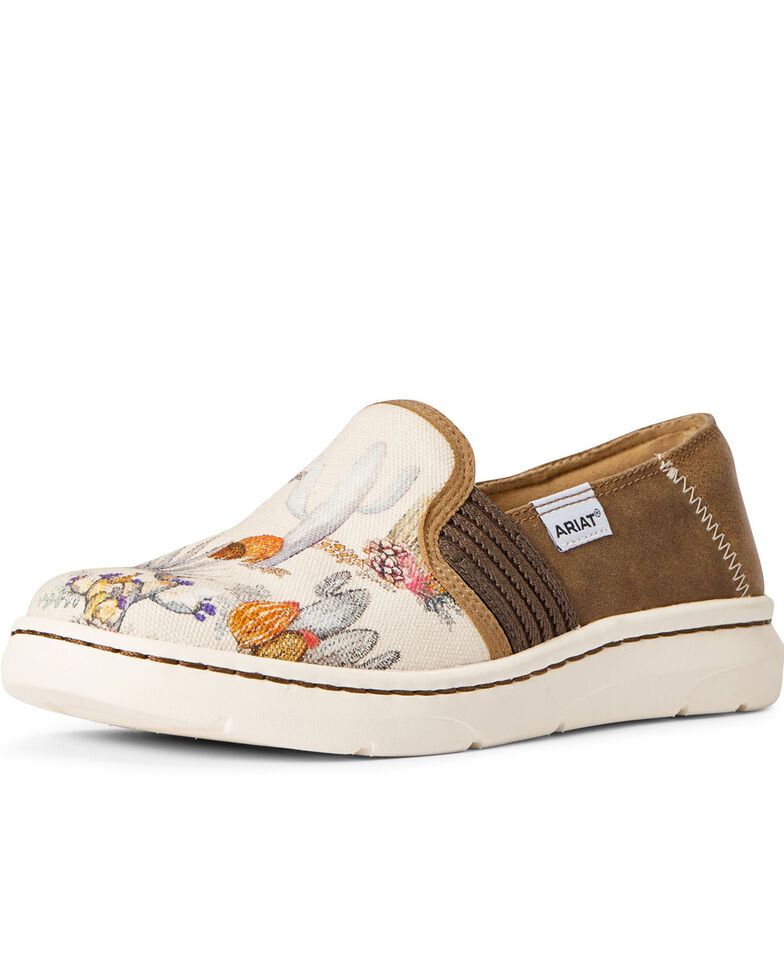 Ariat Women's Ryder Cactus Watercolor Slip-On Shoes - Round Toe, Multi, hi-res
