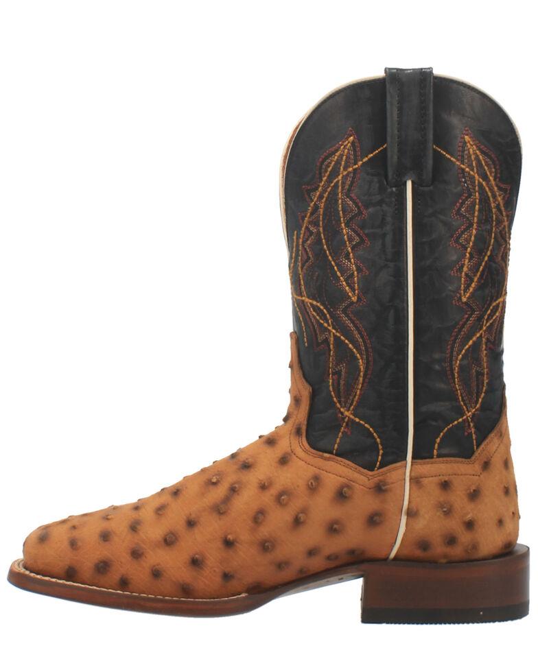Dan Post Men's Saddle Quilled Western Boots - Wide Square Toe, Tan, hi-res
