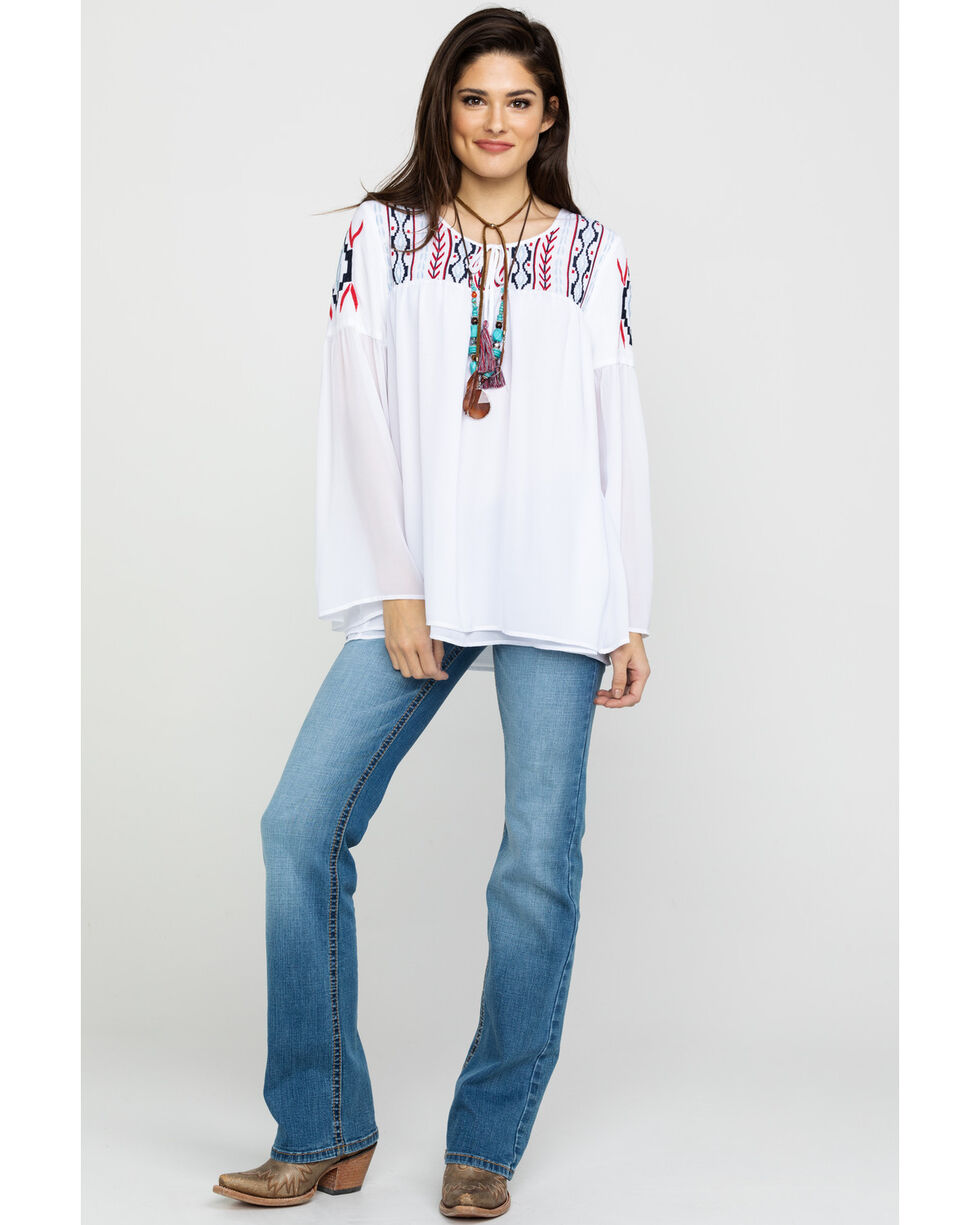 Ariat Women's Freedom Tunic Top, White, hi-res