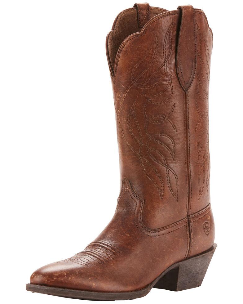 Ariat Women's Heritage Distressed Western Boots - Medium Toe, Distressed Brown, hi-res