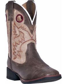 Dan Post Boys' Collared Cowboy Boots - Square Toe, Brown, hi-res
