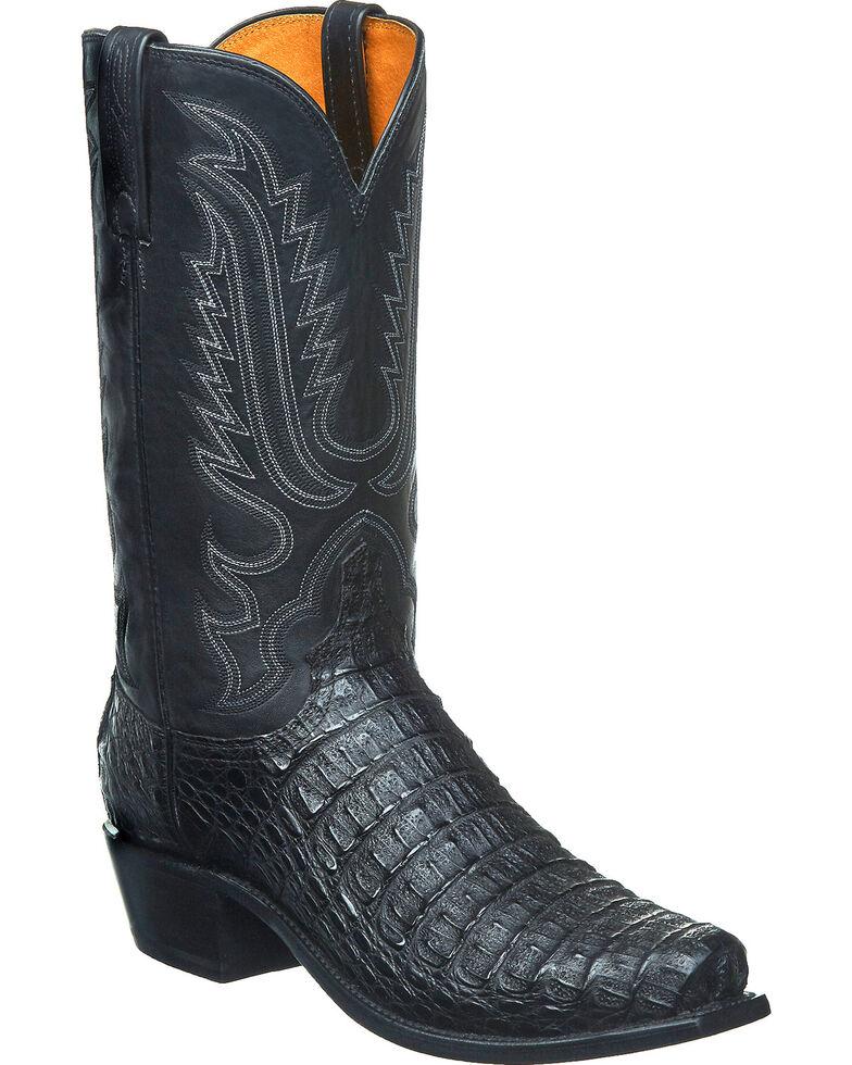 Lucchese Men's Handmade Walter Hornback Caiman Western Boots - Snip Toe, Black, hi-res