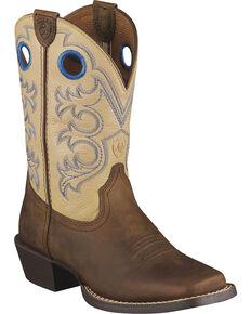 Ariat Children's Crossfire Cowboy Boots - Square Toe, Distressed, hi-res