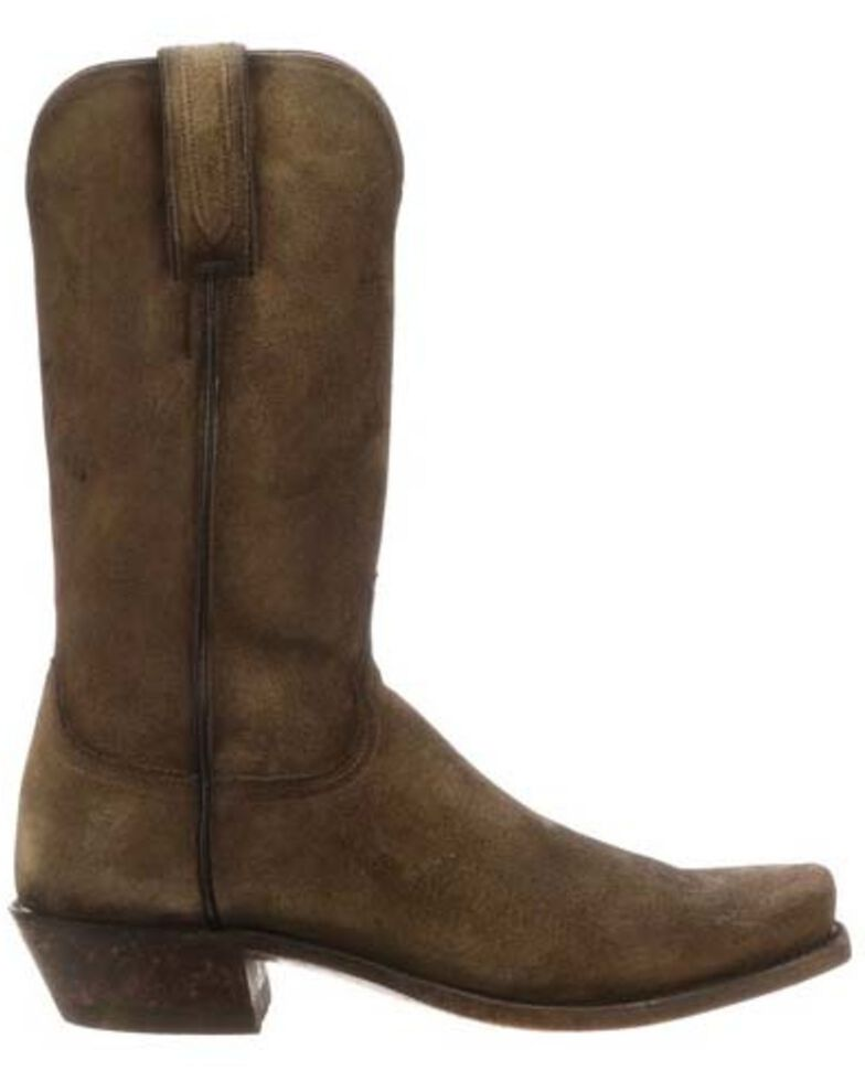 Lucchese Men's Livingston Frontier Suede Western Boots - Narrow Square Toe, Tan, hi-res