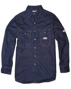 Rasco Men's Flame Resistant Denim Lightweight Long Sleeve Work Shirt - Big & Tall , Blue, hi-res