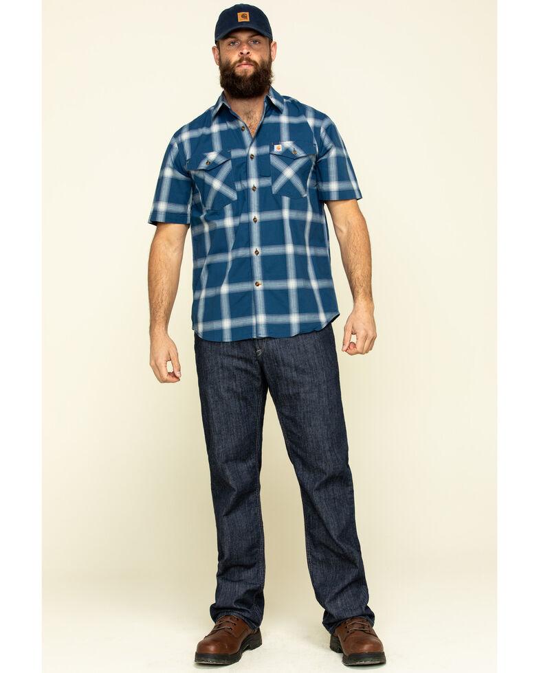Carhartt Men's Dark Blue Rugged Flex Bozeman Plaid Short Sleeve Work Shirt - Big , Dark Blue, hi-res
