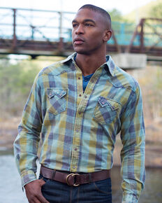 Ryan Michael Men's Green Acid Washed Buffalo Plaid Shirt , Green, hi-res