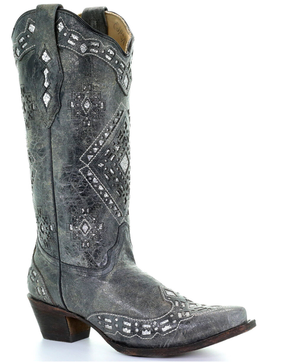 Corral Glitter Inlay Cowgirl Boots - Snip Toe, Black Distressed, hi-res