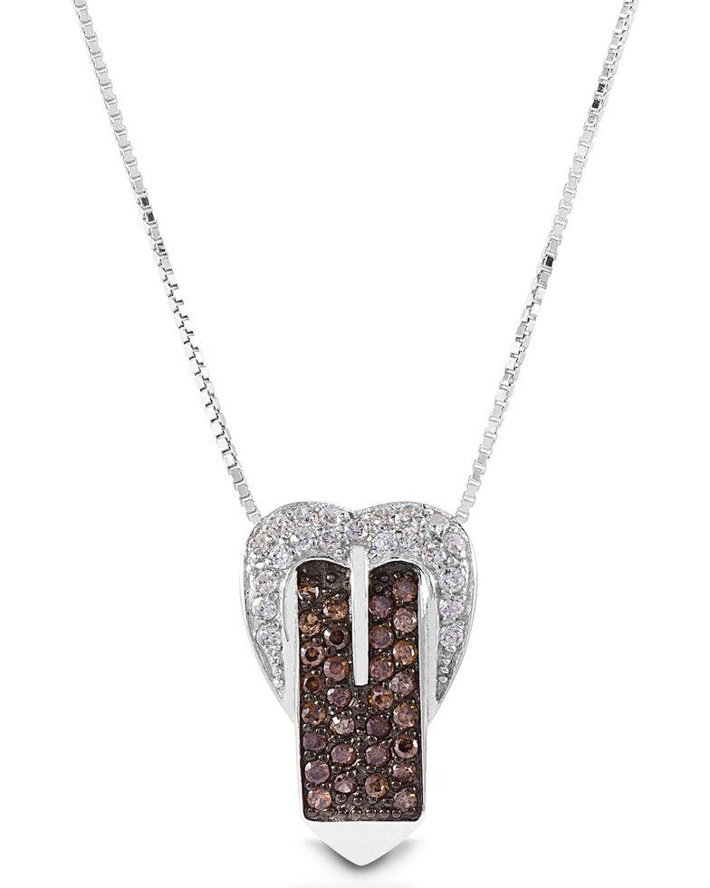 Kelly Herd Women's Western Cognac Buckle Necklace , Silver, hi-res