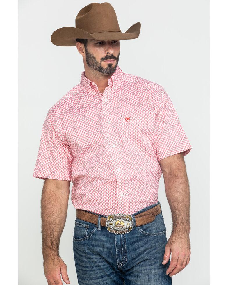 Ariat Men's Griswald Stretch Geo Print Short Sleeve Western Shirt , White, hi-res