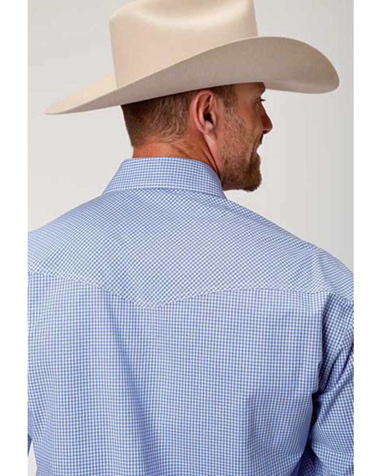Roper Amarillo Men's Perwinkle Mini Check Plaid Long Sleeve Western Shirt , Blue, hi-res