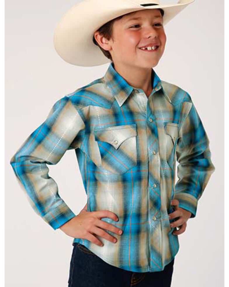 West Made Boys' Tide Pool Dobby Plaid Long Sleeve Western Shirt , Blue, hi-res