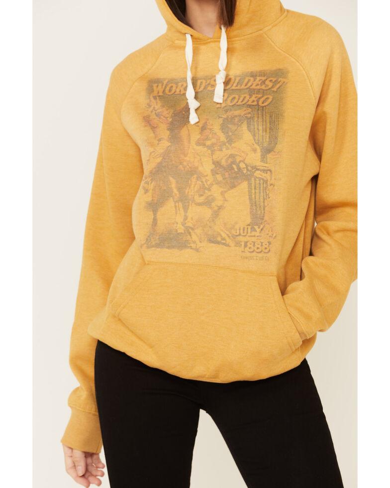 Cowgirl Tuff Women's Mustard Oldest Rodeo Poster Graphic Hooded Sweatshirt , Mustard, hi-res