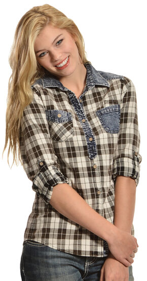 White Crow Women's Stardust Plaid Shirt, Black, hi-res