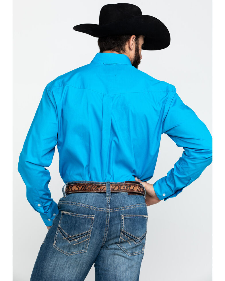 Roper Men's Blue Amarillo Solid Long Sleeve Western Shirt , Blue, hi-res
