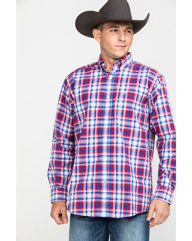 Ariat Men's Oakden Large Plaid Long Sleeve Western Shirt - Big & Tall , Multi, hi-res
