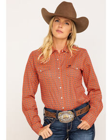 Cinch Women's Coral Geo Print Snap Core Long Sleeve Western Shirt , Coral, hi-res