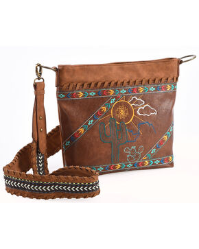 Catchfly Women's Dakota Desert Crossbody , Dark Brown, hi-res