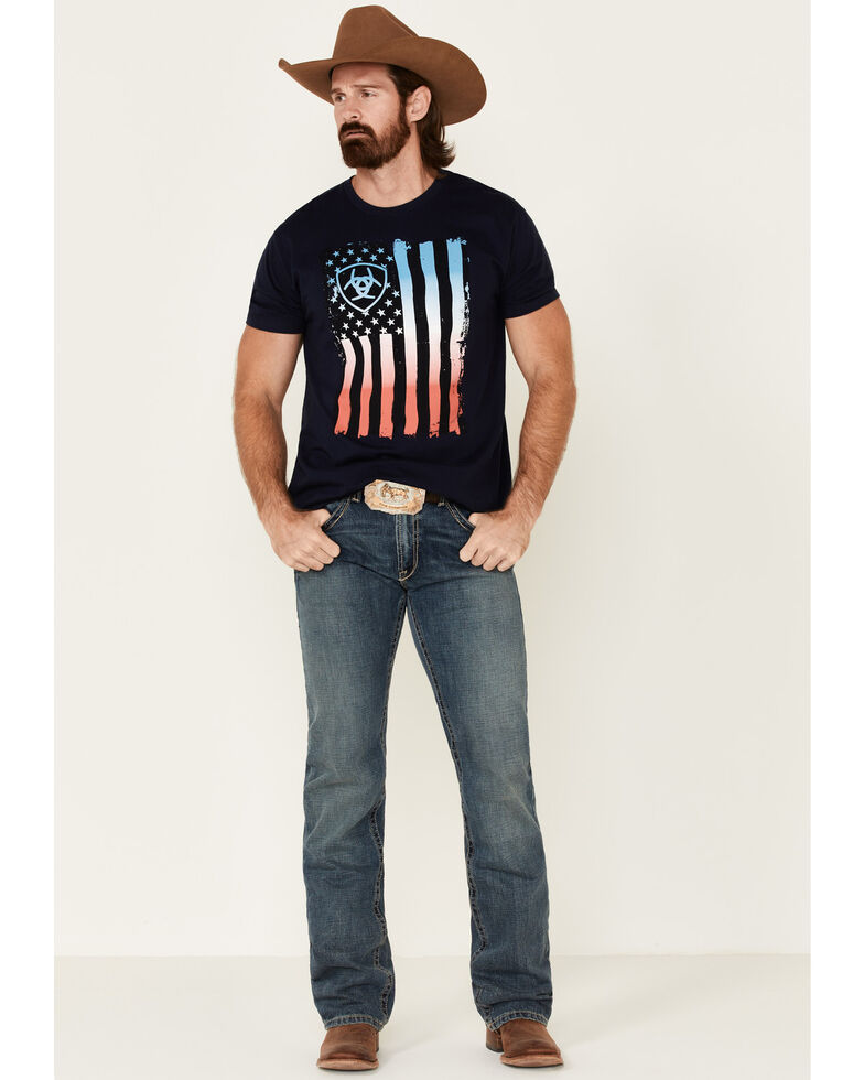 Ariat Men's Navy Memorial Flag Logo Graphic T-Shirt , Navy, hi-res
