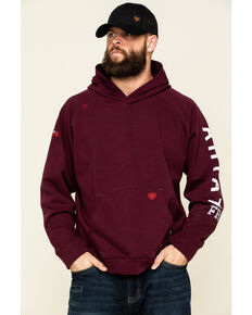 Ariat Men's Malbec FR Primo Fleece Roughneck Hooded Sweatshirt - Big, Red, hi-res