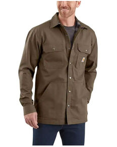 Carhartt Men's Solid Brown Ripstop Flannel-Lined Snap-Front Work Shirt Jacket , No Color, hi-res