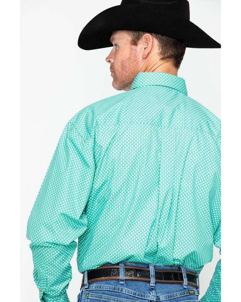 George Strait by Wrangler Men's Printed Geo Long Sleeve Western Shirt , Green, hi-res