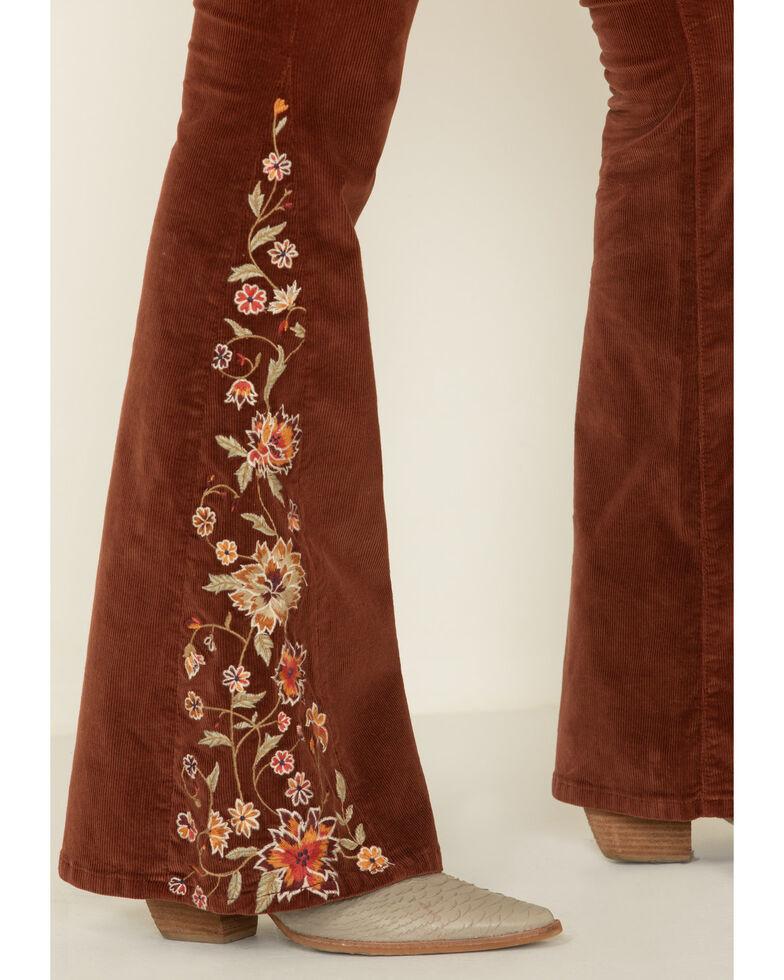 Driftwood Women's Rust Corduroy Floral Embroidered Flare Jeans , Rust Copper, hi-res