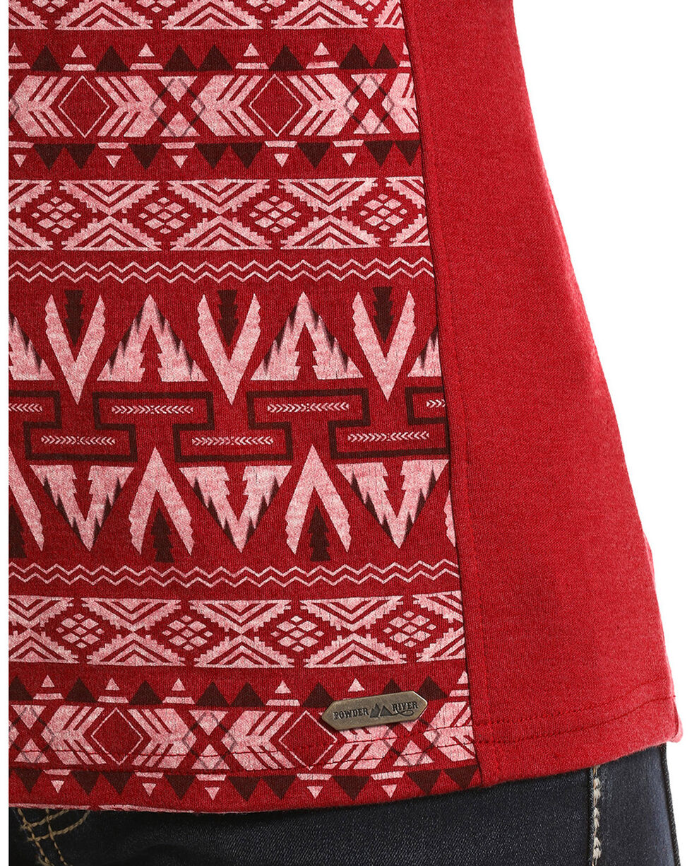 Powder River Outfitters Women's Red Aztec Jacquard Henley Pullover, Brown, hi-res