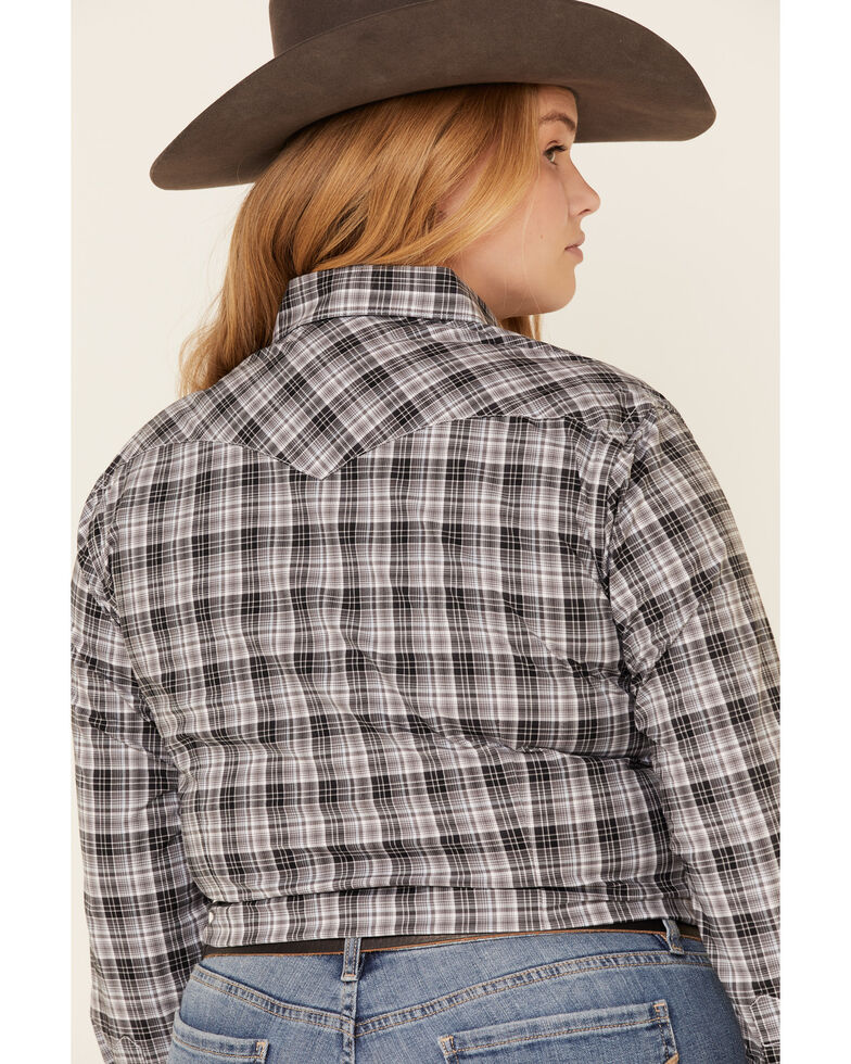 Rough Stock by Panhandle Women's West Bourne Ombre Plaid Long Sleeve Western Shirt - Plus, Black, hi-res