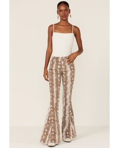 Saint & Hearts Women's Snake Print High Rise Flare Jeans, Brown, hi-res