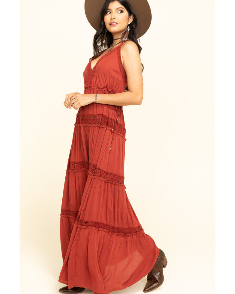 Angie Women's Rust Tiered Lace inset Maxi Dress , Rust Copper, hi-res