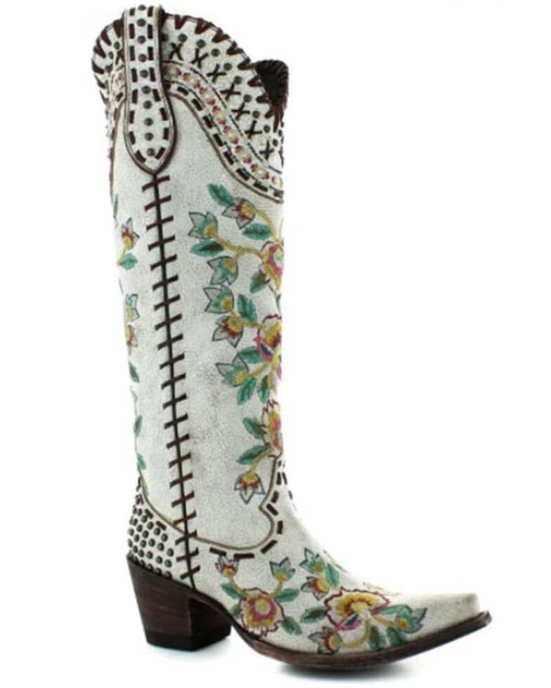 Double D Ranch Women's Almost Famous Western Boots - Snip Toe, White, hi-res