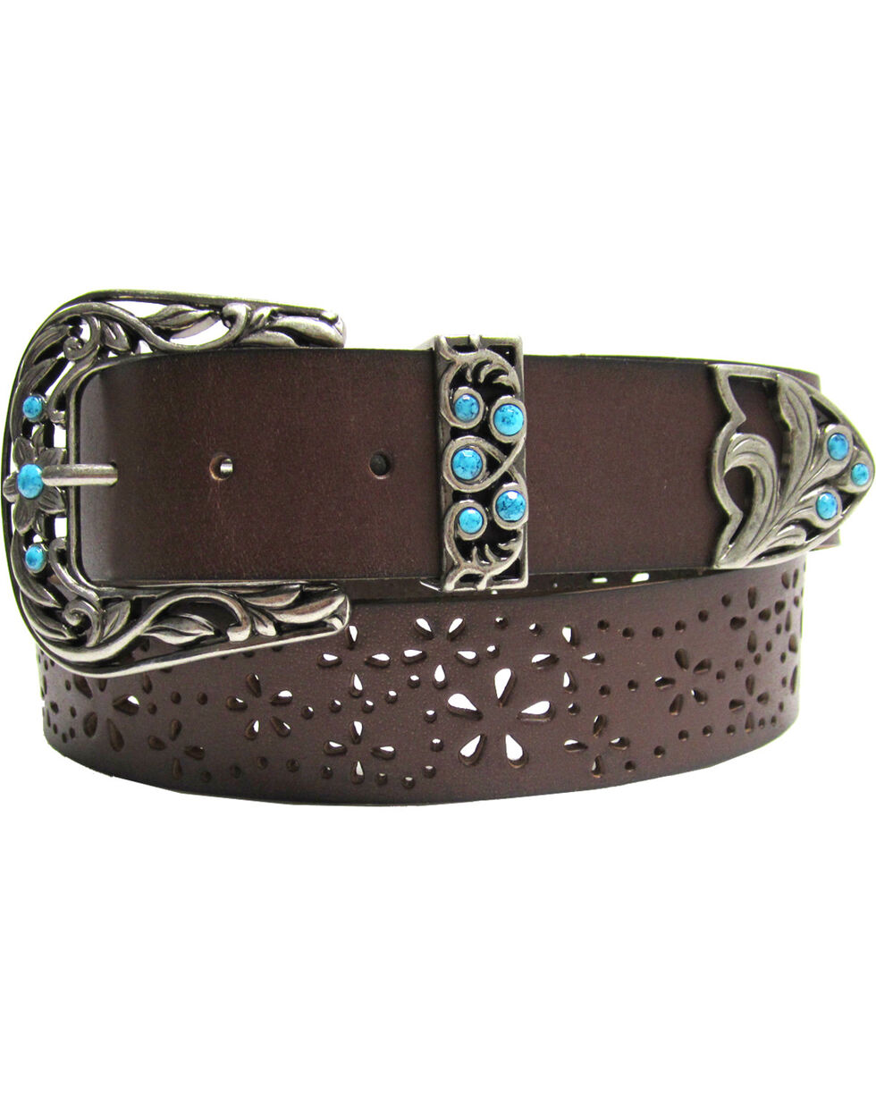 AndWest Women's Three-Piece Perforated Belt, Brown, hi-res