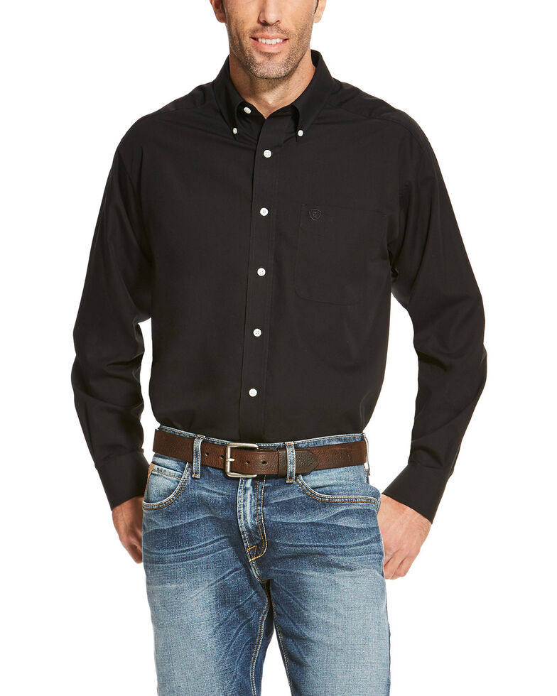 Ariat Men's Black Wrinkle Free Button Long Sleeve Western Shirt - Tall , Black, hi-res