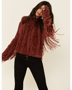 Angie Women's Rust Fringe Chenille Sweater , Rust Copper, hi-res