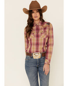 Ariat Women's R.E.A.L Enchanting Plaid Embroidered Long Sleeve Snap Western Core Shirt , Mauve, hi-res