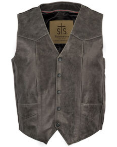 STS Ranchwear Men's Black Antique Smoke Chisum Leather Vest - Big , Black, hi-res