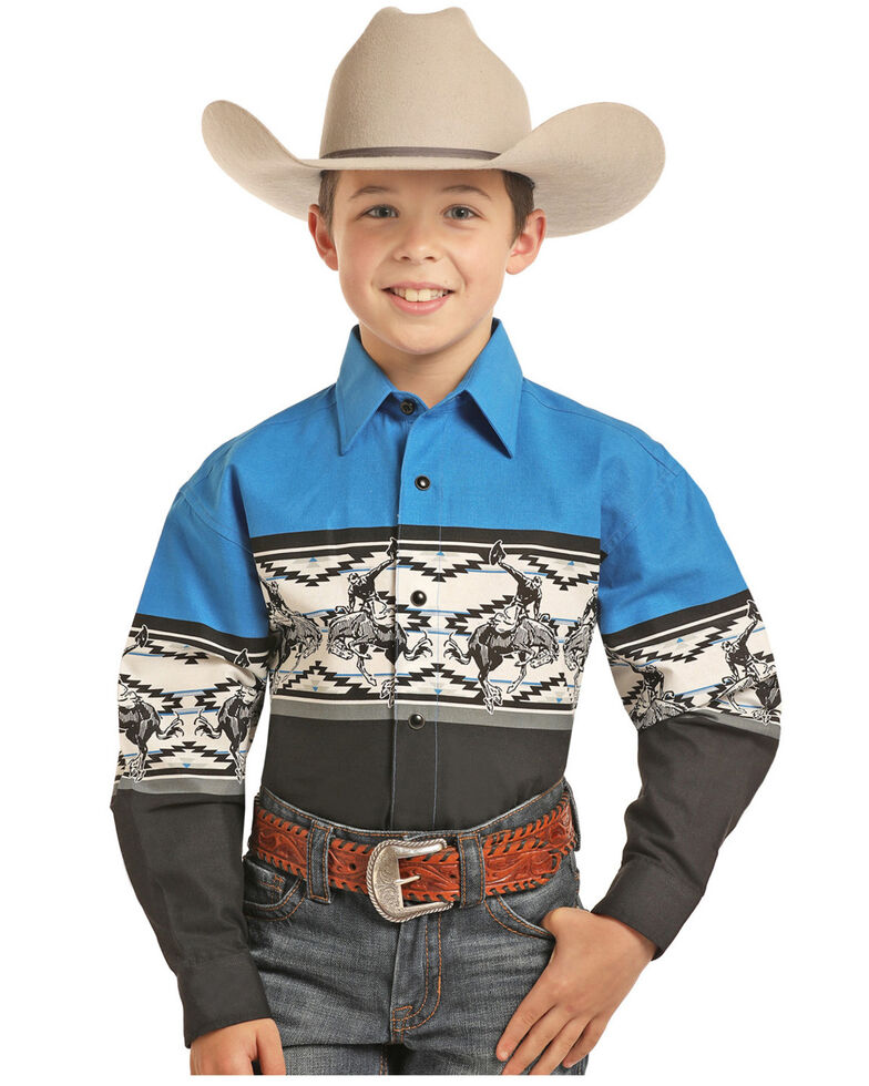 Panhandle Boys' Multi Rodeo Border Print Long Sleeve Western Shirt , Black/blue, hi-res