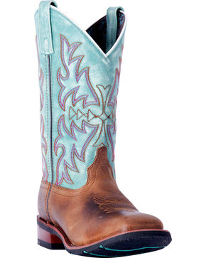Laredo Women's Anita Brown/Blue Cowgirl Boots - Square Toe , Brown, hi-res